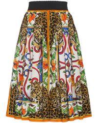 Dolce & Gabbana | Majolica And Leopard Print Circle Skirt | Lyst