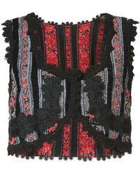 Anna Sui - Chenille Stripe Floral Jacquard Vest - Lyst