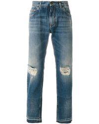 Dolce & Gabbana - Distressed Straight-leg Jeans - Lyst