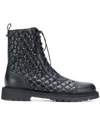Valentino - Rockstud Spike Combat Boots - Lyst