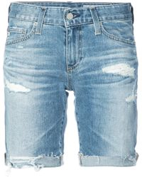 AG Jeans - Distressed Design Shorts - Lyst
