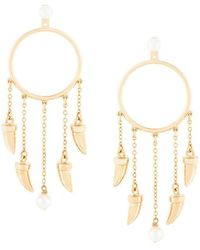 Eshvi - Hanging Tusk Hoop Earrings - Lyst