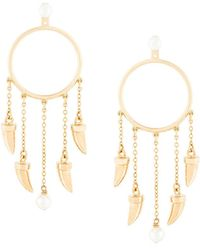 Eshvi - Hanging Tusk Hoop Earrings - Lyst