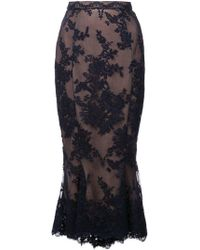 Marchesa - Lace Fit-and-flare Pencil Skirt W/ Scallop Hem - Lyst