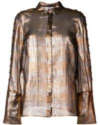 Nellie Partow - Metallic Sheer Blouse - Lyst