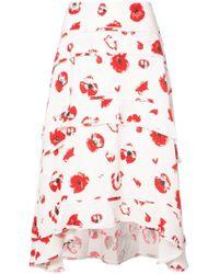 Proenza Schouler - Tiered Printed Crepe Midi Skirt - Lyst