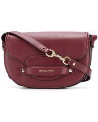 055124393 MICHAEL Michael Kors Leather Medium Cary Saddle Crossbody Bag in ...