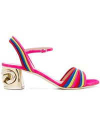 Casadei - Striped Chain Heel Sandalstoe - Lyst