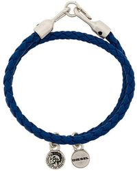 DIESEL - Braided Logo-charm Bracelet - Lyst