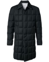 Thom Browne - Downfilled Classic Bal Collar Overcoat With Grosgrain Tipping In Black Super 130's Wool Twill - Lyst