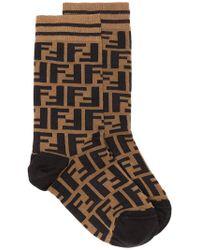 Fendi - Brown And Black Ff Logo Cotton Socks - Lyst
