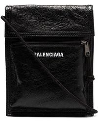 Balenciaga - Black Explorer Arena Cracked Leather Messenger Bag - Lyst