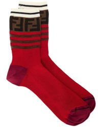 Fendi - Striped Ff Logo Socks - Lyst