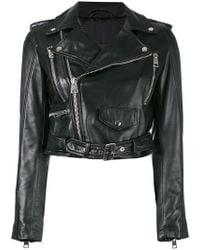 Manokhi - Zipped Biker Jacket - Lyst