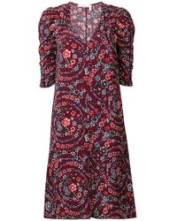 See By Chloé - Floral Print Ruched Sleeves Dress - Lyst