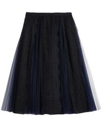 Burberry - Lace Panel Pleated Tulle Skirt - Lyst