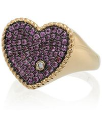 Yvonne Léon - Pink 18k Gold Diamond And Sapphire Heart Ring - Lyst