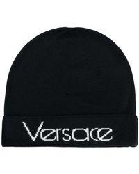 Versace - Logo Knitted Beanie - Lyst