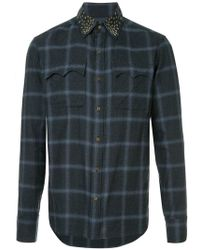 Kolor - Studded Collar Checked Shirt - Lyst