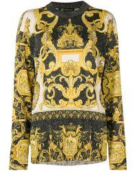 Versace - Baroque Print Glittered Jumper - Lyst