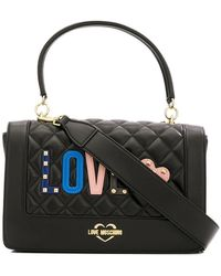 9cbea2f33769 Love Moschino - Love Quilted Appliqué Top Handle Bag - Lyst