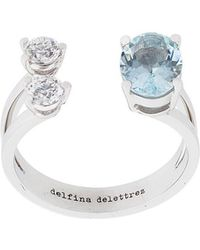 Delfina Delettrez - Dots Solitaire Aquamarine And Double Diamond Ring - Lyst