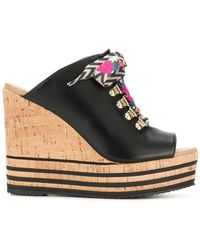 Hogan - Lace-up Wedge Mules - Lyst