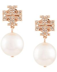 Tory Burch - Crystal Logo Pearl Drop Earrings - Lyst