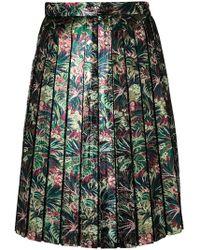 MSGM - Metallic Floral Pleated Skirt - Lyst