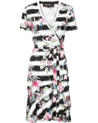 Nicole Miller - Floral Printed Wrap Dress - Lyst