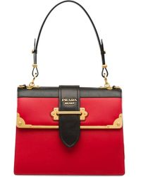 4ec91f5ad2c8 Prada Cahier Small Two-Toned Leather Tote in Red - Lyst