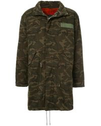 Yves Salomon - Fur Lined Camouflage Coat - Lyst