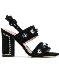 Alberto Gozzi - Block Heel Embellished Sandals - Lyst