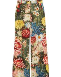 Gucci - Impressionist Garden Wide Leg Trousers - Lyst