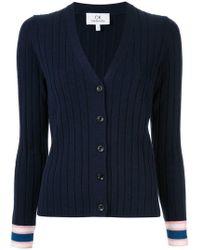 Calvin Klein - Stripe Detail Ribbed Cardigan - Lyst