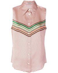 Miu Miu - Striped Design Blouse - Lyst
