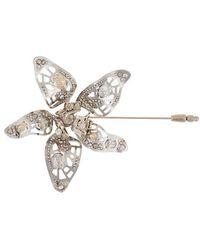Lanvin Crystal-embellished Flower Brooch - Metallic