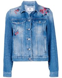 7 For All Mankind - Flower Embroidered Denim Jacket - Lyst