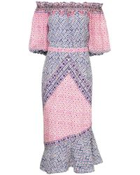 Saloni - Paisley Print Dress - Lyst