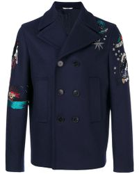Valentino - Tattoo Embroidered Peacoat - Lyst
