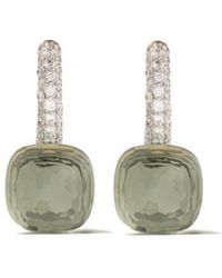 Pomellato - 18kt Rose & White Gold Nudo Prasiolite & Diamond Earrings - Lyst