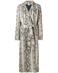 Attico - Snakeskin Effect Trench Coat - Lyst