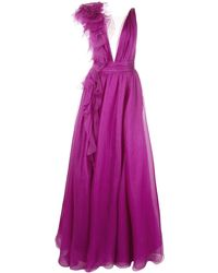 Marchesa Tulle Panel Evening Gown