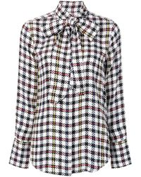 Equipment - Check Patterned Bow Detail Shirt - Lyst