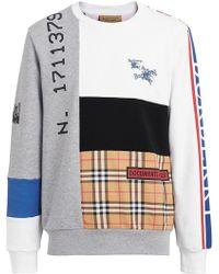 Burberry - Archive Logo Panelled Cotton Sweatshirt - Lyst