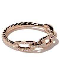 David Yurman - 18kt Rose Gold Stax Single Row Pavé Diamond Chain Link Ring - Lyst