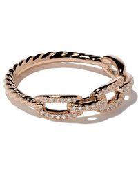 David Yurman - 18kt Rose Gold Stax Single Row Pavé Diamond Chain Link Ring - Lyst