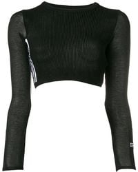 adidas - Ribbed Cropped Jumper - Lyst