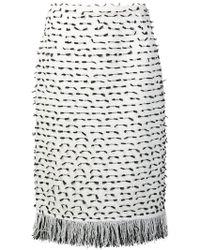 Oscar de la Renta - Fringed Ribbon Tweed Skirt - Lyst