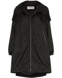 Valentino - Vltn Logo Hooded Coat - Lyst
